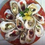 local katama oysters pomegranate mignonette and champagne cream