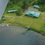 The lodge and cabins from the air