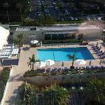 Pool and fitness center as seen from the 8th floor room