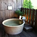 the outside hot tub