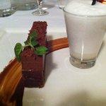 dessert: Whittaker's chocolate cake with coconut foam