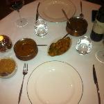 Chicken chettinad, Jhenga hara pyaz (tiger prawns), rice & cauliflower bhaji