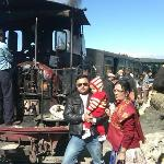 Me Guddu and Mom in front of Dipa and Guddu in front of Toy Train