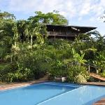 View from the pool of our main lodge, Casa Luna, where we have four rooms with a wrap-around bal