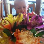 fresh flowers with breakfast