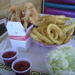 Fried shrimp, small box, onion rings and slaw.