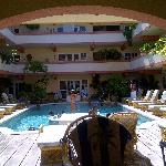 Looking into the pool area from the Breezeway Bar.