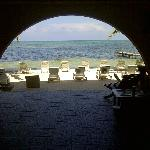 Looking out the Breezeway Bar to the beach area and sea.