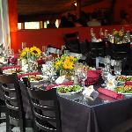 Upper dining room set for a group dinner