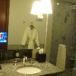 Bathroom with TV in mirror