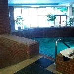 Nice looking pool and whirlpool area