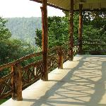 The spacious back porch of Laurel Lodge, overlooking the Shenandoah River