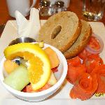 Yummy bagel and lox in hotel's breakfast-only restaurant.