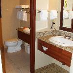 Two vanities very handy. Bathroom very clean.