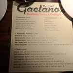 Gaetano's new menu