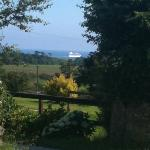 Passing boat viewed from Penhale.