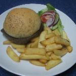 Steak Roll served with chips and salad