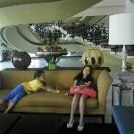 At the lobby with the kids
