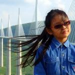 Sunshine on a breezy summer's day @ Millau Viaduct on A75, France. A magical moment in France! M