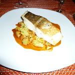 roast cod with potatoes and a langoustine dressing