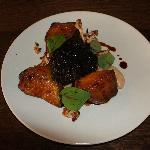 Braised pork cheek, spiced pumpkin, cauliflower, moscatel sauce