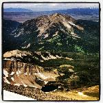 View of Fan Mountain and Yellowstone National Park from the top of Lone Peak, Big Sky Montana