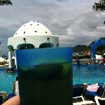 Blue pool bar cups with beer & limon!