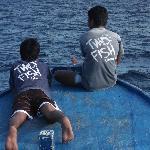Chillen met de jongens op de boot