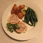 Pork wellington, sauteed Haricot Vert, Roasted potatoes