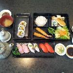 Shrimp bento; Coto house special rolls & fish sushi