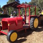 Tractor in the playground for the kids to play on