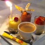 Cafe Gourmand (with candle for a birthday)