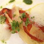Mushroom bolognaise, lime spaghetti, parmesan foam, fresh herbs