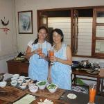 me and Mai - the owner - she is a very well know Thai chef in chiang Mai- having Thai teas and c