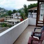 Balcony with some great views of Kandy, the lake and the Temple of the tooth (with the golden ro