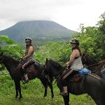 View of the volcano while horseback riding.