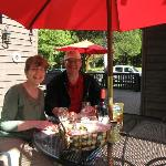 Sampling our anniversary treats outside Ladybug cabin