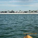 View from the kayaks of the beach front sites