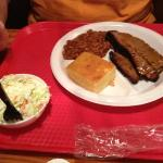 Brisket with baked beans, cole slaw and corn bread.
