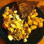 Greek Scramble with Rye Toast - YUM!