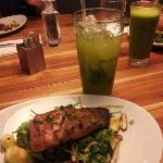 Salmon + Cucumber-Mint drink