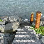 steps down to shore at high tide
