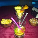 My favourite caiparinha, with nuts, crisps and fresh fruit that they pop on your table in the ev