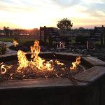 Fire pit and waterfall (sunrise over river in background)