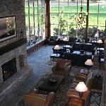 length of lobby with fireplace lit