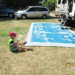 Our grandson helping set up