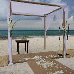 All ready for the wedding... seating on beach for 85 guests