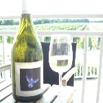 View of the vineyard with their bottle of 2010 Gallery.