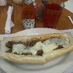 My cheesesteak.... They come loaded but I ordeted it no sauce, no onions. Yummmmmm