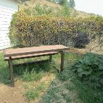 Picnic table outside our cottage